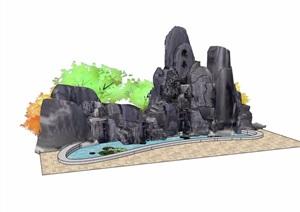 园林景观假山水池素材设计SU(草图大师)模型