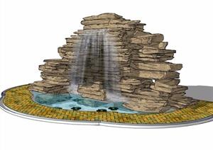 假山水池及铺装素材设计SU(草图大师)模型