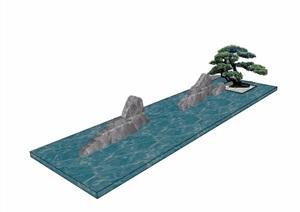 中式水池景石素材设计SU(草图大师)模型