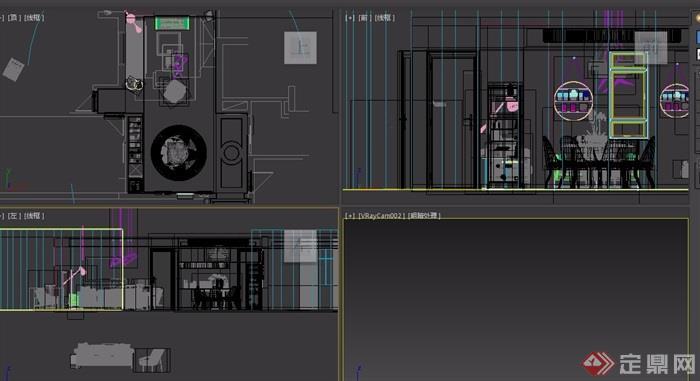 现代详细的住宅室内客餐厅室内3d模型