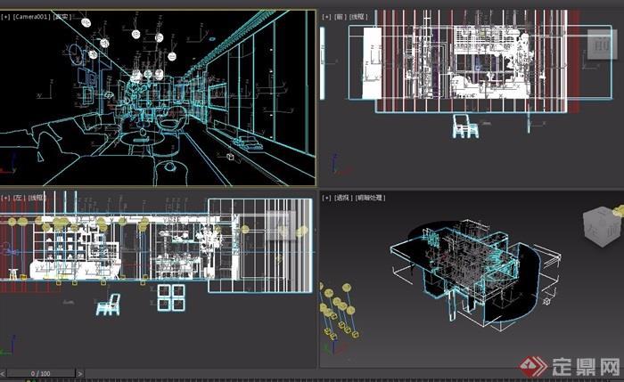 现代详细的室内客餐厅室内3d模型