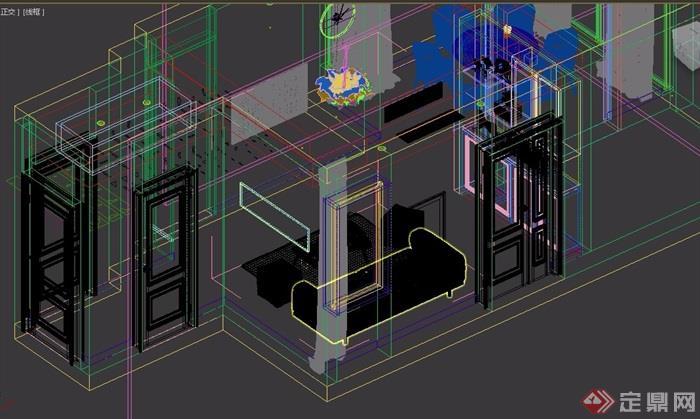 简约风格室内客厅空间装饰3d模型