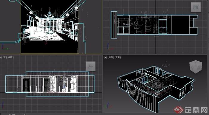 简约风格详细的室内客厅装饰3d模型