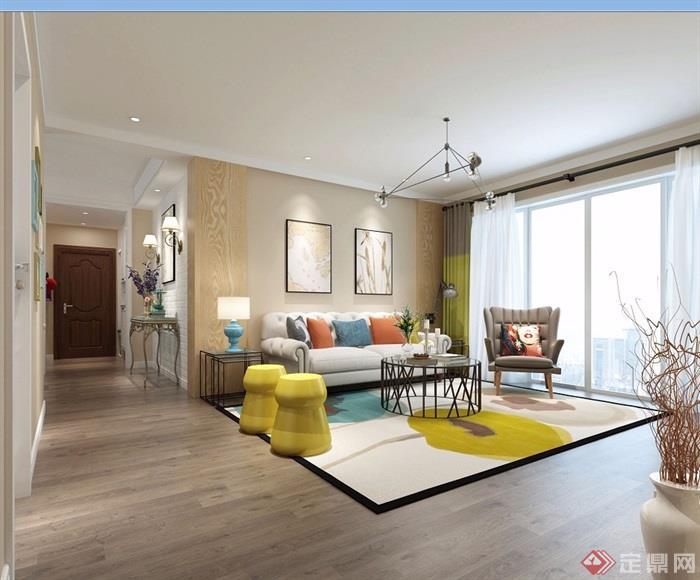 詳細的完整室內客廳裝飾設計3d模型及效果圖