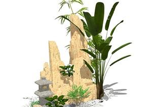 假山石头植物组合SU(草图大师)模型原创