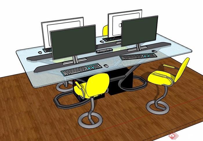 详细的完整电脑桌椅素材设计su模型