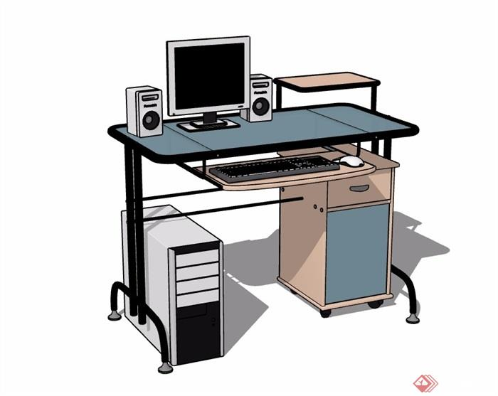 详细的完整室内电脑桌素材设计su模型