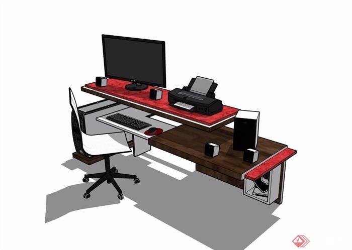 详细的完整室内办公桌椅素材设计su模型