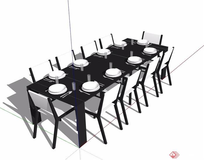 某现代室内客厅餐桌椅su模型