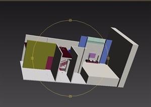 现代风格住宅详细的室内楼梯过道3d模型