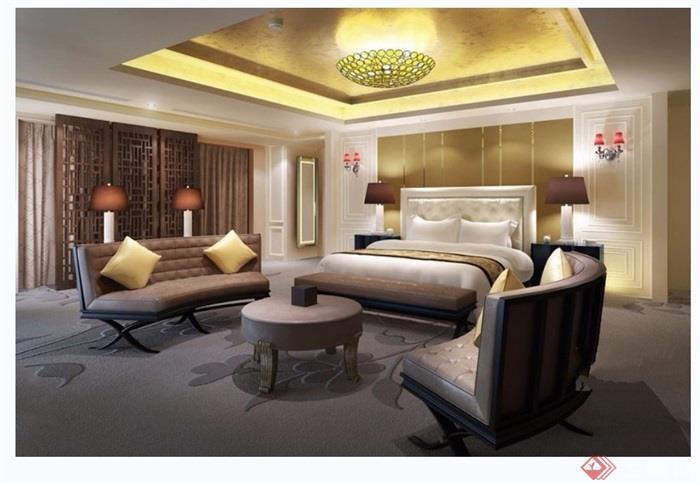 某详细的室内卧室空间装饰设计3d模型及效果图
