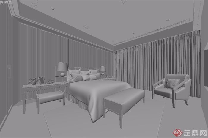 独特详细的室内卧室空间装饰设计3d模型及效果图