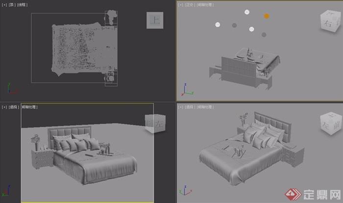 详细的室内卧室床柜设计3d模型