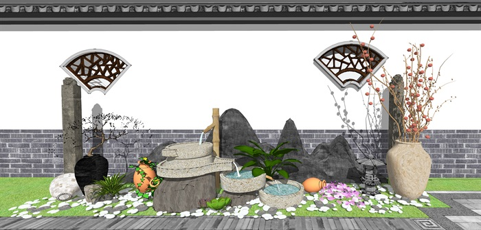 新中式景观小品 庭院小品 跌水景观植物组合(1)