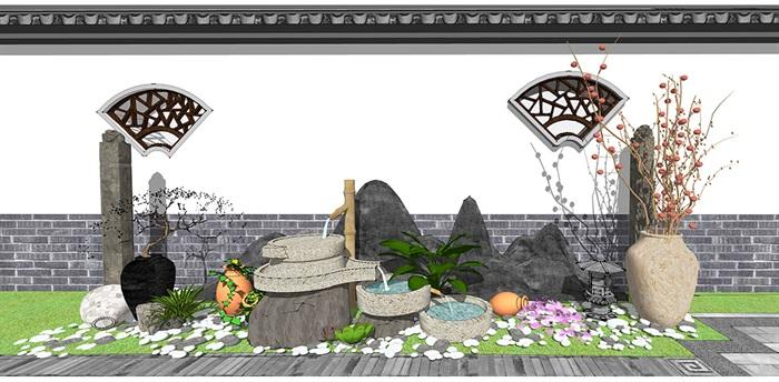 新中式景观小品 庭院小品 跌水景观植物组合(3)