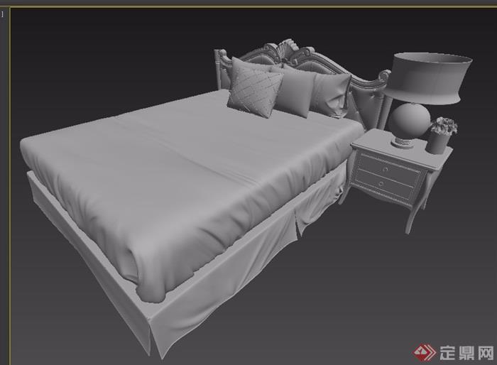 欧式单人室内卧室床设计3d模型
