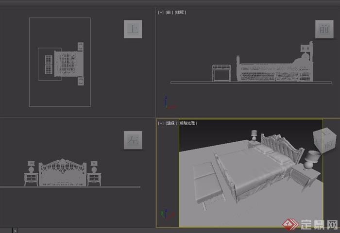 独特欧式室内卧室床设计3d模型