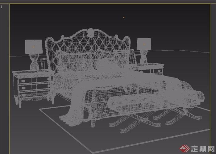欧式详细的完整室内卧室床柜设计3d模型