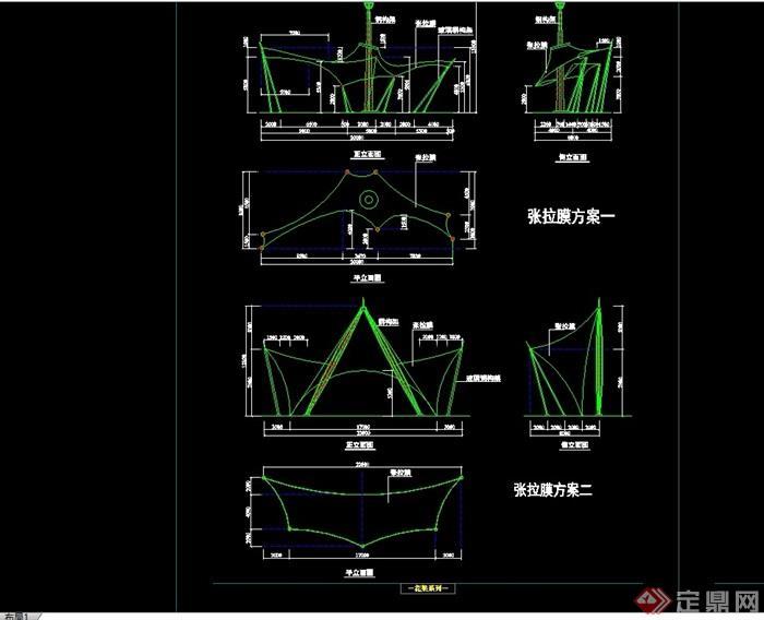 园林景观详细的完整张拉膜亭子cad施工图