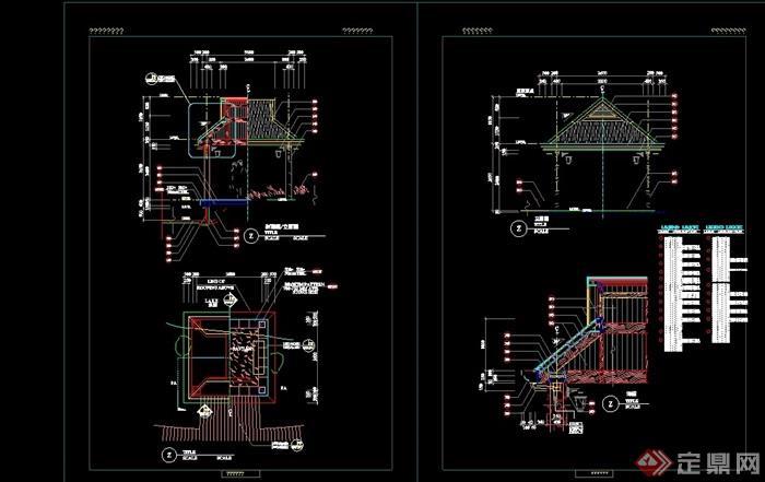 中式节点景观详细的完整亭子cad施工图