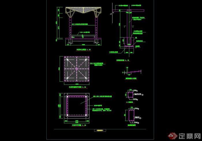 独特整体详细的完整亭子cad施工图