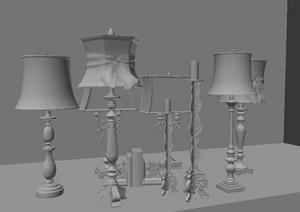 美式台灯组合素材3d模型
