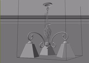 地中海简欧吊灯素材3d模型