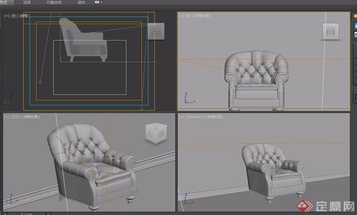 欧式皮革沙发椅子素材详细3d模型及效果图