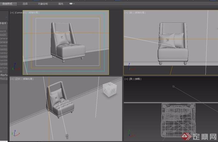 欧式详细的沙发椅子素材详细3d模型及效果图