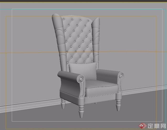 欧式沙发椅子素材完整详细3d模型及效果图