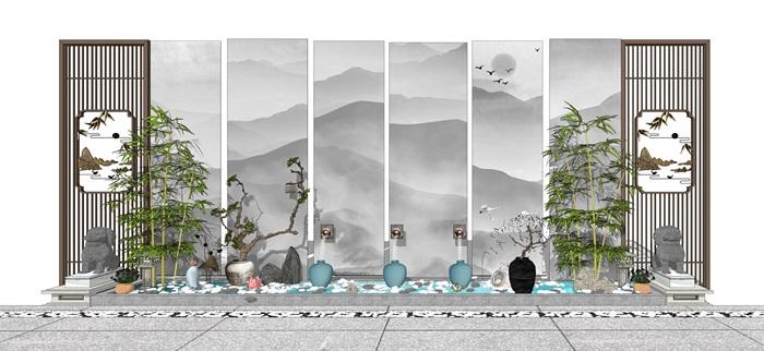 新中式景墙水池 隔断 石狮 陶罐植物 景观小品(1)