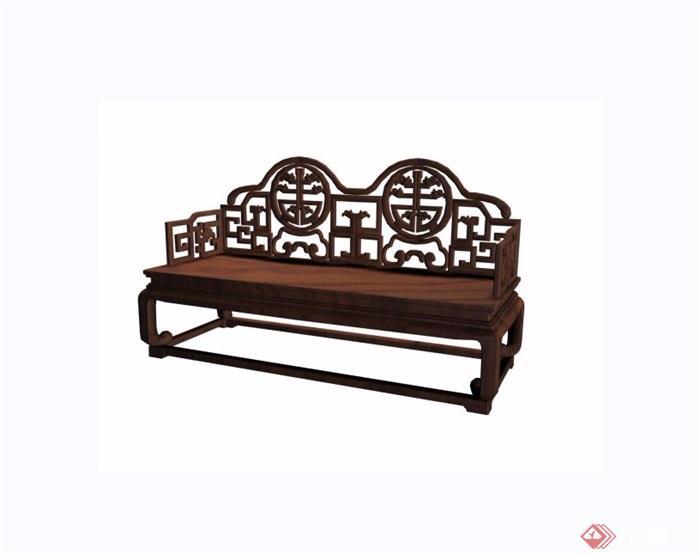 葵龙捧寿宝座双人椅素材设计3d模型