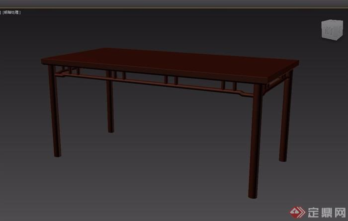 玄关鞋柜3d模型_木质详细的长桌素材设计3d模型