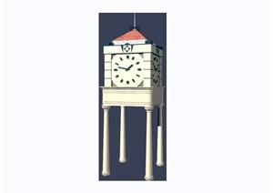 欧式风格详细的钟塔设计3d模型及效果图