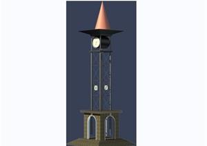 欧式风格钟塔素材设计3d模型及效果图