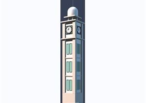 详细的钟塔素材设计3d模型及效果图