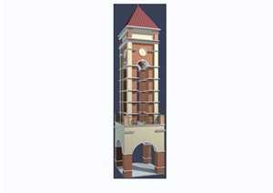 欧式钟塔素材设计3d模型及效果图