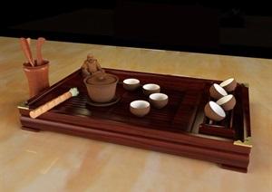 古典中式茶具素材设计3d模型及效果图