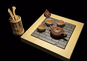 古典中式茶具素材完整設計3d模型及效果圖
