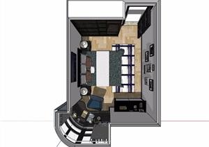 现代住宅卧室室内装饰设计SU(草图大师)模型