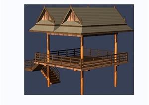东南亚园林景观观景亭素材设计3d模型及效果图