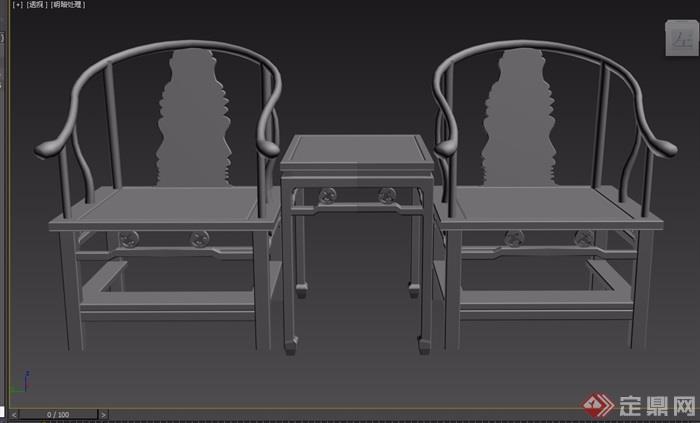 寿字八宝纹三件套桌椅素材设计d模型及效果图