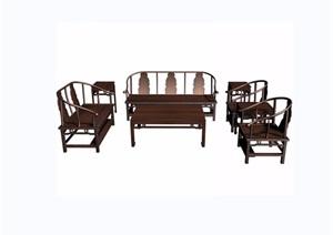壽字八寶紋八件套桌椅素材設計3d模型