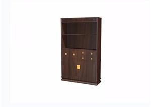 中式山水人物圖木質柜格設計3d模型及效果圖