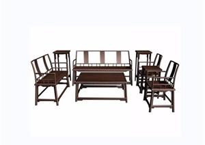 中式如意璃紋八件套桌椅組合3d模型