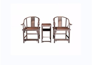 圈椅三件套桌椅素材設計3d模型