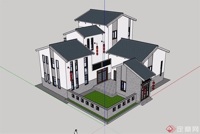 徽派中式风格详细别墅设计su模型