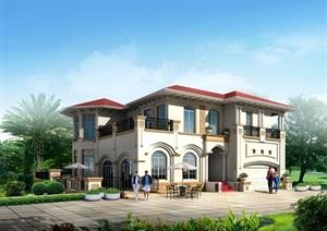 欧式风格多层独栋别墅设计SU(草图大师)模型
