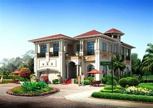 某欧式风格多层详细的住宅别墅设计SU(草图大师)模型及效果图