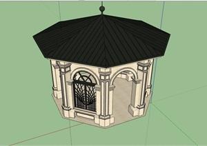 美式风格详细的经典亭子设计SU(草图大师)模型